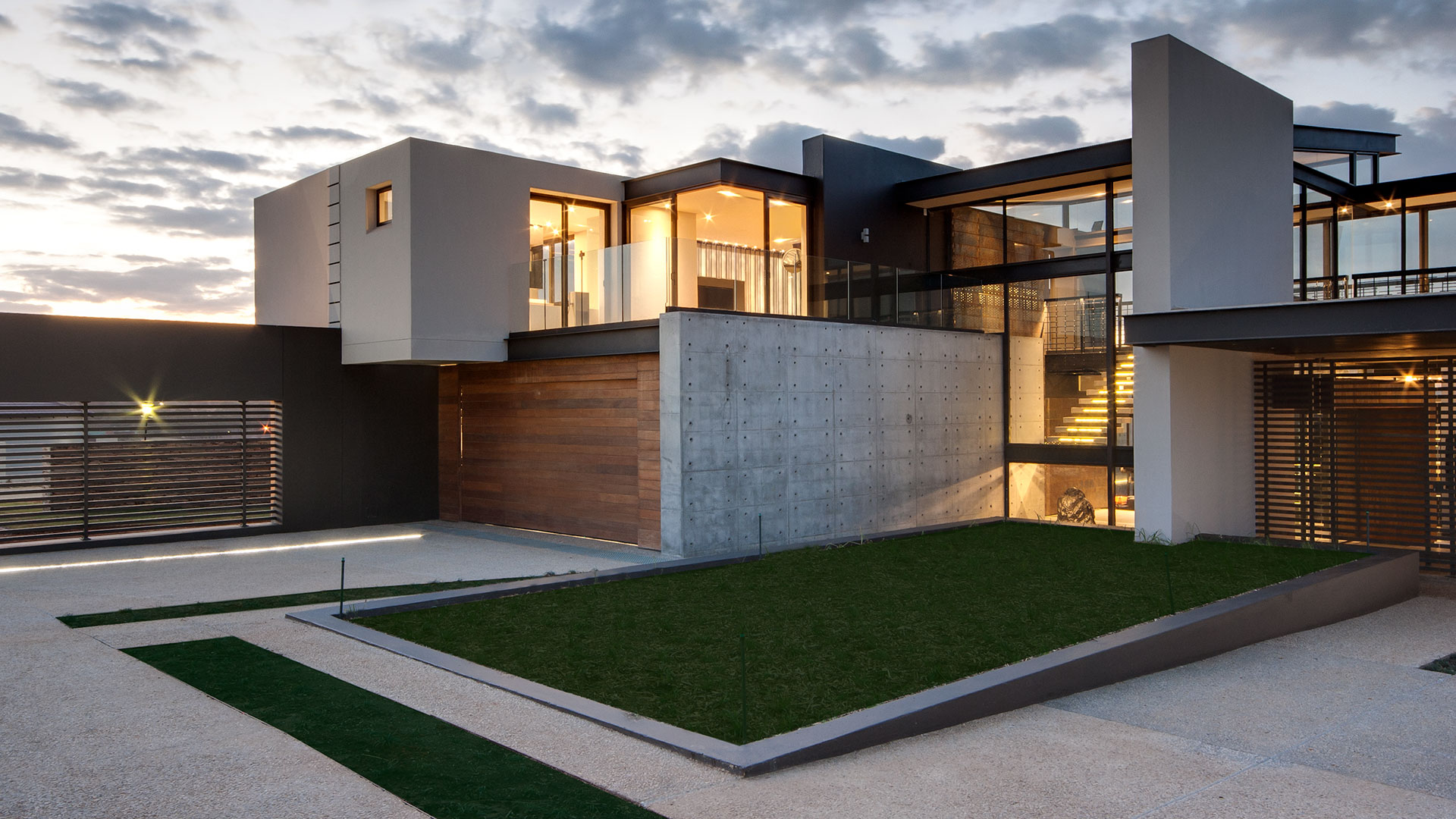villa with glass windows and doors